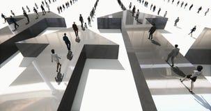 4k επιχειρηματίες που περπατούν στο τρισδιάστατο βέλος ελεύθερη απεικόνιση δικαιώματος