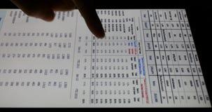 4k εργασία επιχειρηματιών για την ταμπλέτα με τα διαγράμματα, δάχτυλο σχετικά με τα διαγράμματα πιτών χρηματοδότησης φιλμ μικρού μήκους