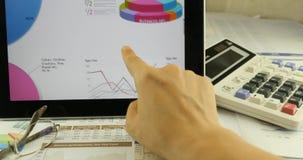 4k εργασία επιχειρηματιών για την ταμπλέτα με τα διαγράμματα, δάχτυλο σχετικά με τα διαγράμματα πιτών χρηματοδότησης απόθεμα βίντεο