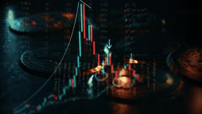 4K ζωτικότητα των εμπορικών συναλλαγών επένδυσης χρηματιστηρίου bitcoin Διάγραμμα γραφικών παραστάσεων ραβδιών κεριών Τάση της γρ απεικόνιση αποθεμάτων