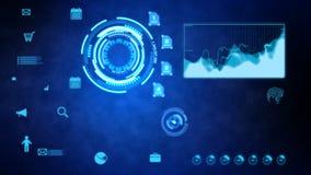 4K ζωτικότητα HUD και φραγμός pi γραφικών παραστάσεων για το φουτουριστικό στοιχείο τεχνολογίας έννοιας Cyber στο σκοτεινό υπόβαθ