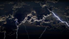 4K θεαματικός ουρανός με τις καταιγίδες και αστραπή στα σύννεφα θύελλας νύχτας απεικόνιση αποθεμάτων