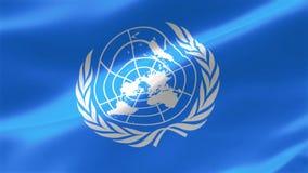 4k ιδιαίτερα λεπτομερούς η σημαία των Ηνωμένων Εθνών αποτελείται από το επίσημο έμβλημα των Ηνωμένων Εθνών στο λευκό σε ένα μπλε  απεικόνιση αποθεμάτων
