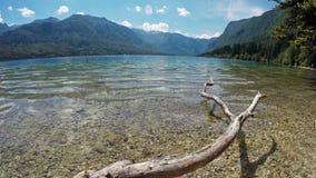 4K Καταπληκτική λίμνη Bohinj το καλοκαίρι, πανοραμική άποψη χρόνος-σφάλματος Ιουλιανές Άλπεις, εθνικό πάρκο Triglav, Σλοβενία, Ευ απόθεμα βίντεο
