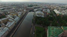4k κεραία της Άγιος-Πετρούπολης με την άποψη σχετικά με τον ποταμό Fontanka και το κάστρο Michaels φιλμ μικρού μήκους