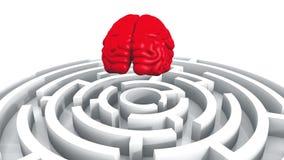 4k κόκκινος εγκέφαλος επάνω από το λαβύρινθο, τεχνητή νοημοσύνη ελεύθερη απεικόνιση δικαιώματος