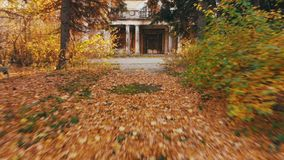 4K Μεγεθύνοντας ακανθώδης είσοδος μέσα σε ένα καταστρέφοντας σπίτι Μήκος σε πόδηα χρώματος φθινοπώρου απόθεμα βίντεο