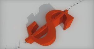 4k μια ομάδα επιχειρηματιών που περπατούν στο μεγάλο κόκκινο σύμβολο δολαρίων διανυσματική απεικόνιση