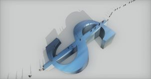 4k μια ομάδα επιχειρηματιών που περπατούν στο μεγάλο μπλε σύμβολο δολαρίων διανυσματική απεικόνιση