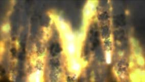 4k μια ομάδα βλημάτων που προωθούνται, έκρηξη ηφαιστείων φύσης, πολεμική σκηνή, Ημέρα της Κρίσεως απόθεμα βίντεο