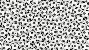 4K οι σφαίρες ποδοσφαίρου αφορούν κάτω άσπρο και διαμορφώνουν έναν τοίχο απεικόνιση αποθεμάτων