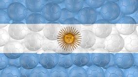 4K οι σφαίρες ποδοσφαίρου αφορούν κάτω ένα λευκό και διαμορφώνουν μια σημαία της Αργεντινής διανυσματική απεικόνιση