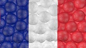 4K οι σφαίρες ποδοσφαίρου αφορούν κάτω ένα λευκό και διαμορφώνουν μια σημαία franch απεικόνιση αποθεμάτων