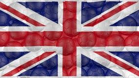 4K οι σφαίρες ποδοσφαίρου αφορούν κάτω ένα λευκό και διαμορφώνουν μια σημαία της Μεγάλης Βρετανίας διανυσματική απεικόνιση