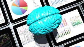 4k περιστρεφόμενος εγκέφαλος & κινητές συσκευές, διαγράμματα πιτών χρηματοδότησης & τάση αποθεμάτων στο ipad διανυσματική απεικόνιση
