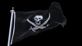 4k περιτυλγμένος σημαία πειρατών με το κοντάρι σημαίας που κυματίζει στον αέρα Άλφα κανάλι συμπεριλαμβανόμενο φιλμ μικρού μήκους