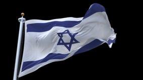 4k περιτυλγμένος σημαία του Ισραήλ με το κοντάρι σημαίας που κυματίζει στον αέρα Άλφα κανάλι συμπεριλαμβανόμενο απόθεμα βίντεο