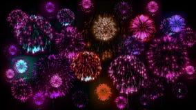 4K πολλαπλάσια πυροτεχνήματα Όμορφα ζωηρόχρωμα μεγάλα firecrakers τρισδιάστατη ζωτικότητα, διαφορετικές εκδόσεις 10 απόθεμα βίντεο