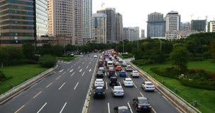 4k σύγχρονα αστικά πολυάσχολα μποτιλιαρίσματα πόλεων, οδός εθνικών οδών timelapse&houses που χτίζουν απόθεμα βίντεο