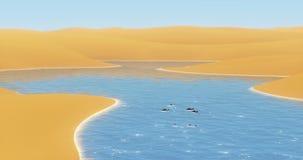 4k τα ψάρια που κολυμπούν μέσα λάμπουν ποταμός που ρέει στην έρημο, τους αμμόλοφους άμμου & το μπλε ουρανό ελεύθερη απεικόνιση δικαιώματος