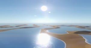 4k το πέταγμα λάμπει λίμνη στην έρημο, τους αμμόλοφους άμμου ελιγμού & το μπλε ουρανό ελεύθερη απεικόνιση δικαιώματος