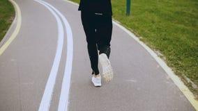 4K τρεξίματα ατόμων κατά μήκος ενός δρόμου πάρκων φθινοπώρου υποστηρίξτε την όψη Αθλητικών τύπων σε μια ειρηνική ήρεμη οδική αλέα απόθεμα βίντεο