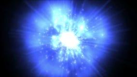 4k δυναμικό φως ινών ακτίνων ενέργειας & φλογών τεχνολογίας έκρηξης, νεφέλωμα στον κόσμο απόθεμα βίντεο