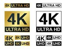 4k υπερβολικό εικονίδιο Hd Διανυσματικό 4K σύμβολο TV UHD του υψηλού καθορισμού Στοκ Εικόνες