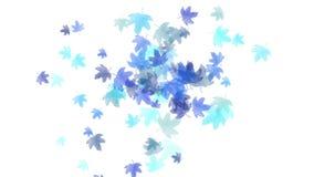 4k φως άδειας φύλλων σφενδάμου falling&flare, ρομαντικό μόριο πτώσης φθινοπώρου καλλιτεχνικό απεικόνιση αποθεμάτων