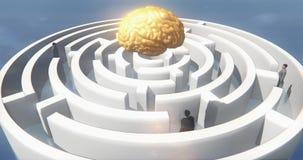 4k χρυσός εγκέφαλος επάνω από το λαβύρινθο, επιχειρηματίες που στέκεται, τεχνητή νοημοσύνη ελεύθερη απεικόνιση δικαιώματος