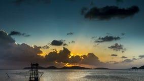 4K χρόνος - ηλιοβασίλεμα songkhla ζουμ σφάλματος ko έξω yo απόθεμα βίντεο