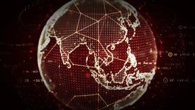4K ψηφιακά παγκόσμια δίκτυα του κοκκίνου ανθρώπων απεικόνιση αποθεμάτων