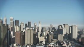 4k вид с воздуха городского здания, летание через NewYork, стройка современного мира иллюстрация вектора