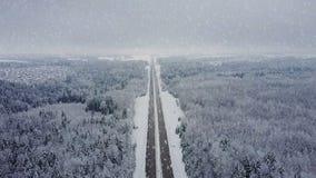 4K Дорога в лесе зимы с управлять автомобилями на снежностях воздушный панорамный взгляд Исчезая перспектива пункта видеоматериал