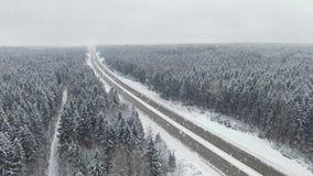 4K Дорога в лесе зимы с управлять автомобилями на снежностях воздушный панорамный взгляд Исчезая перспектива сток-видео