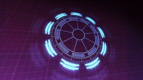 4k интерфейса технологии HUD вращая и пульсируя представило видео анимации в фиолетовых голубых цветах бесплатная иллюстрация