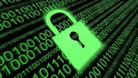 4k, концепция безопасностью кибер Padlock цифров, бинарный исходный код, отображение данных иллюстрация штока