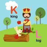 K-король письма алфавита, L-журнал, иллюстрация иллюстрация вектора