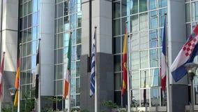 4K Флаги стран Европейского союза развевают Европейский парламент видеоматериал