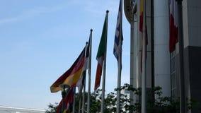 4K Флаги стран Европейского союза развевают Европейский парламент акции видеоматериалы