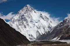 K2 - 其次最高的山顶在世界上 库存照片