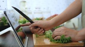 4K 切绿色菜的女性手,成份为烹调做准备通过片剂跟随烹调在网站上的网上录象剪辑 股票录像