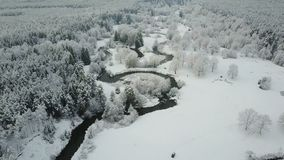 4K 在绕河上的低飞行在有雾的天气的冻森林里 美丽的冬天谷空中全景  股票视频