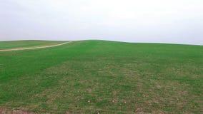 4K 在青山上的低飞行与土路,空中全景 影视素材
