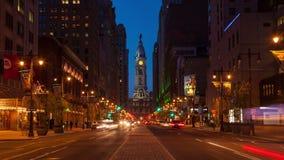 4K费城街道夜timelapse - Philly时间laspe - Pennsylavania美国 股票录像