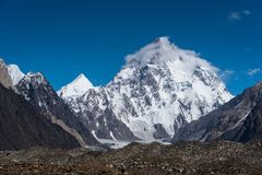 K2山峰,其次高山在世界上,喀喇昆仑山脉, P 免版税库存图片