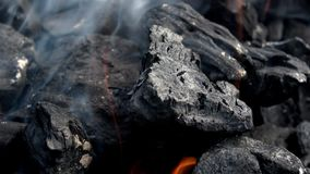 4K 木炭烤肉燃烧 烟和火焰 热的煤炭和火焰在格栅 股票视频