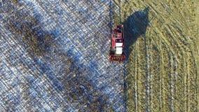 4K 联合收割机在麦地运转在第一雪以后!收割机切成熟干玉米 第一雪落 股票录像