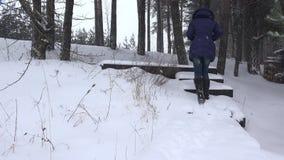 Женщина взбирается вверх лестницы покрытые с снегом в парке зимы 4K сток-видео