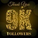 9K aanhangers Dank u banner Gouden brieven met vonken op een donkere achtergrond stock illustratie